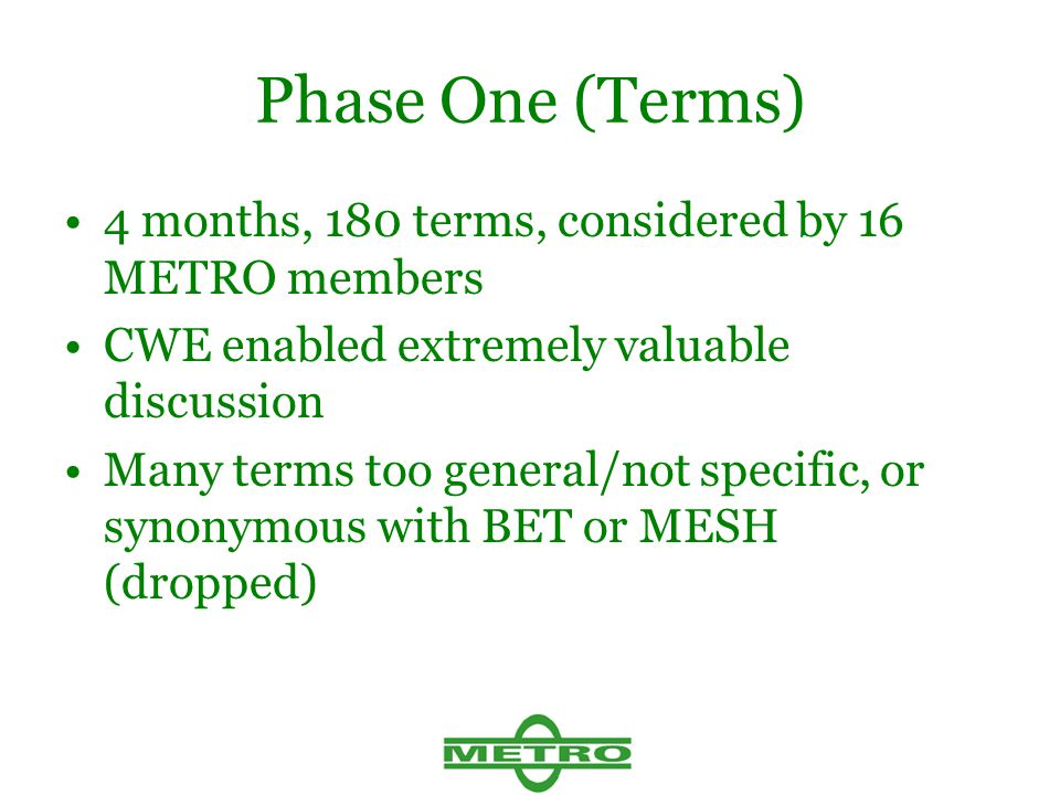 Phase One (Terms) 4 months, 180 terms, considered by 16 METRO members CWE enabled extremely valuable discussion Many terms too general/not specific, o