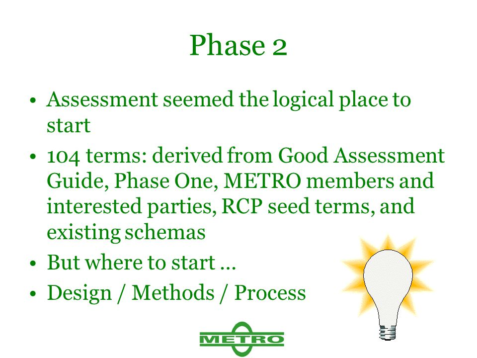 Phase 2 Assessment seemed the logical place to start 104 terms: derived from Good Assessment Guide, Phase One, METRO members and interested parties, RCP seed terms, and existing schemas But where to start … Design / Methods / Process