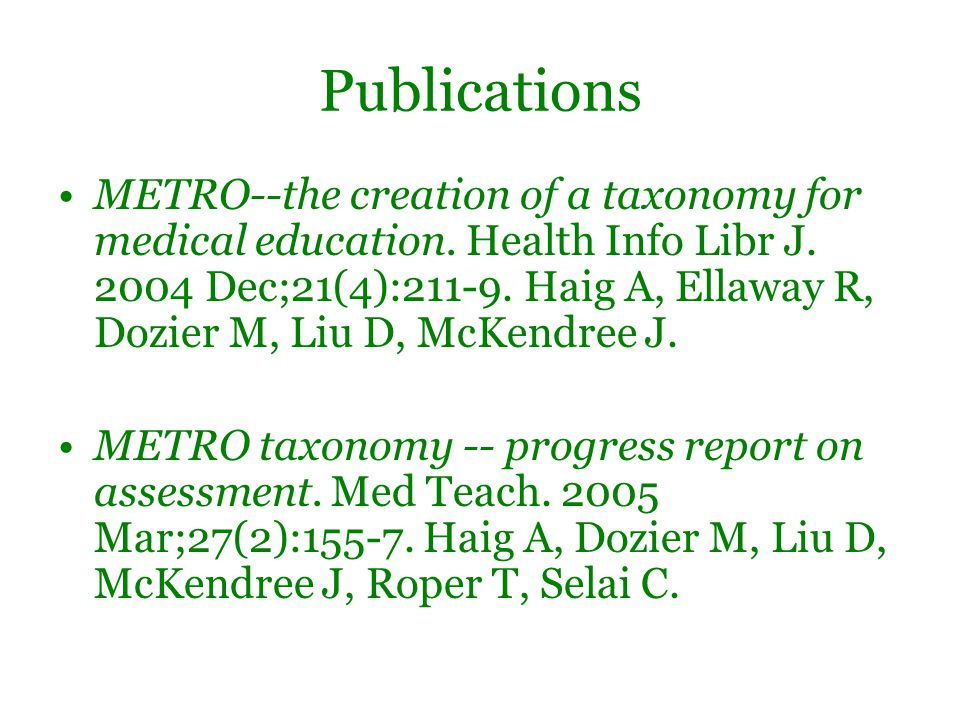 Publications METRO--the creation of a taxonomy for medical education.