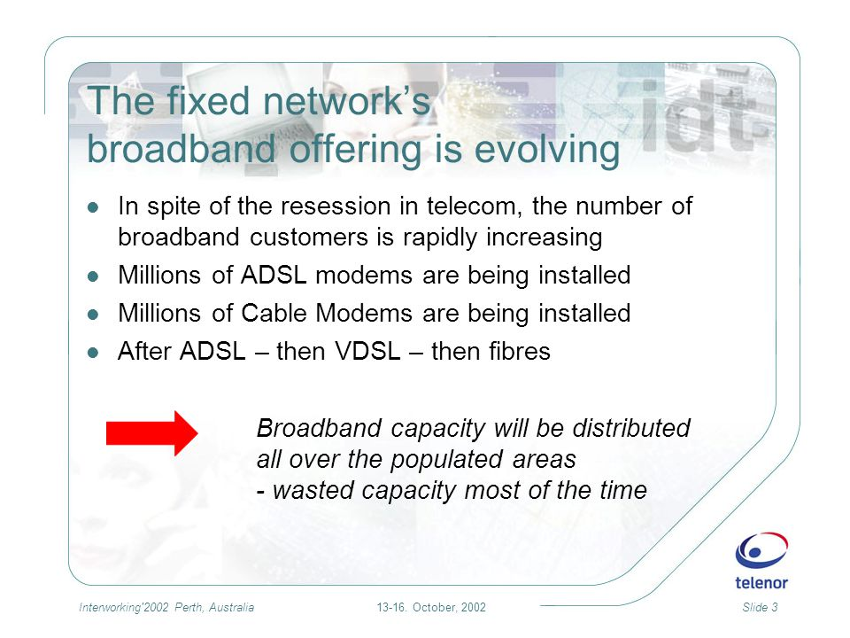 13-16. October, 2002Slide 3Interworking'2002 Perth, Australia The fixed networks broadband offering is evolving In spite of the resession in telecom,