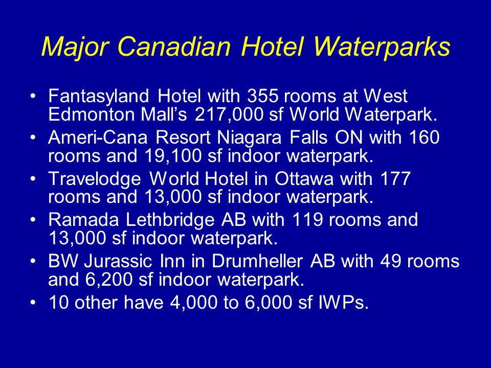 Major Canadian Hotel Waterparks Fantasyland Hotel with 355 rooms at West Edmonton Malls 217,000 sf World Waterpark. Ameri-Cana Resort Niagara Falls ON