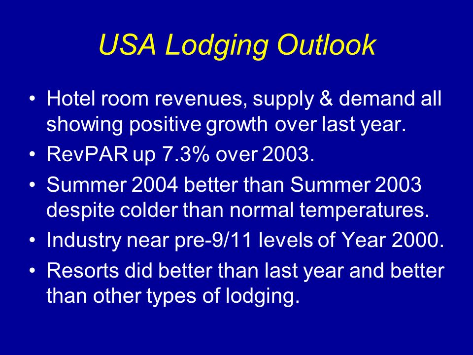 USA Lodging Outlook Hotel room revenues, supply & demand all showing positive growth over last year.