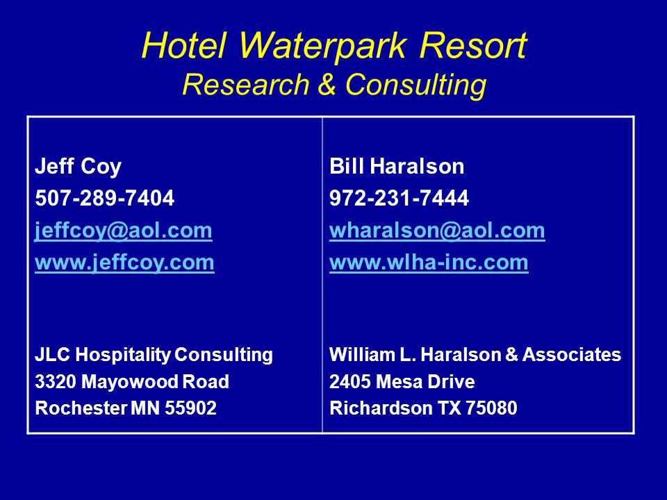 Hotel Waterpark Resort Research & Consulting Jeff Coy 507-289-7404 jeffcoy@aol.com www.jeffcoy.com JLC Hospitality Consulting 3320 Mayowood Road Roche