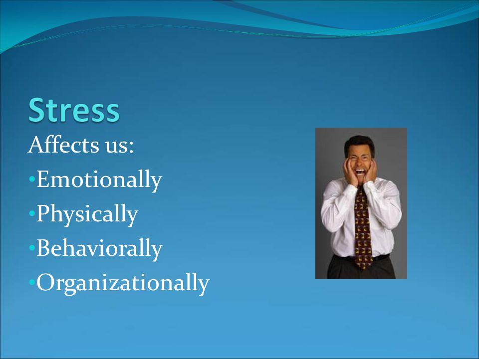 Affects us: Emotionally Physically Behaviorally Organizationally