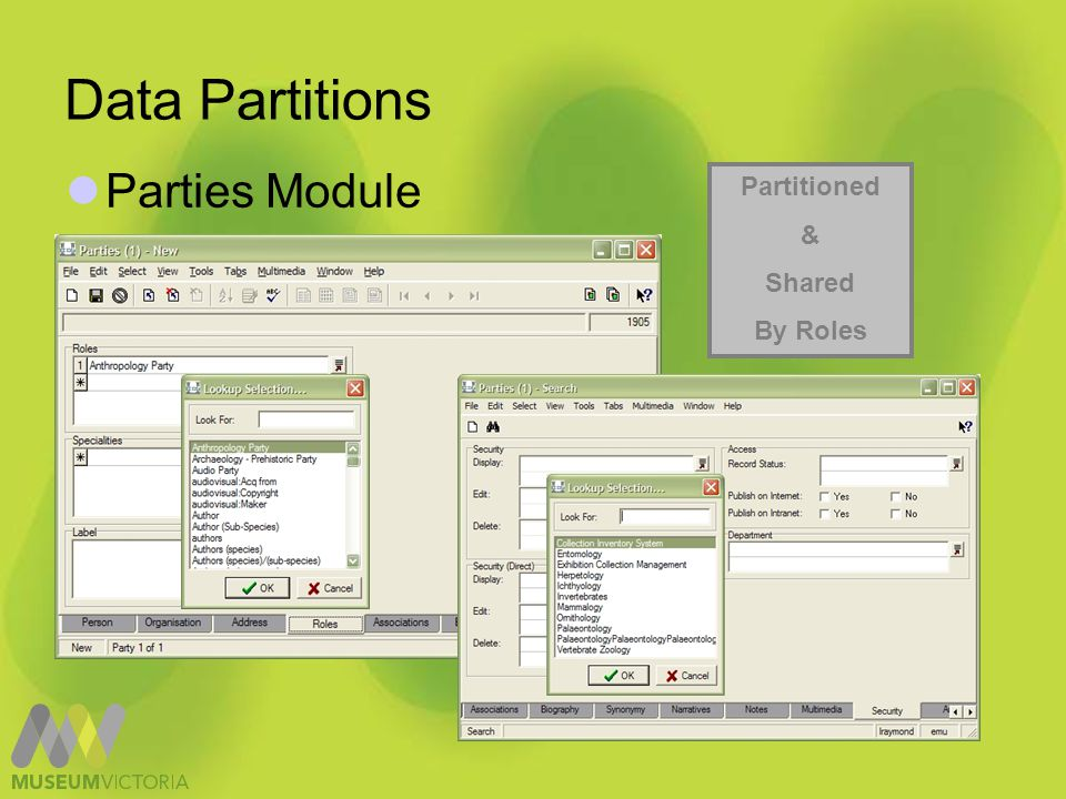 Data Partitions Column Access – Default Settings Department Discipline User
