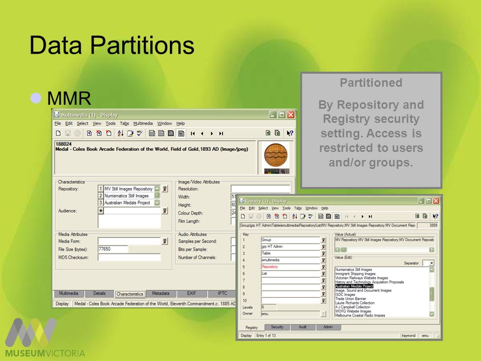 Data Partitions MMR Partitioned By Repository and Registry security setting.