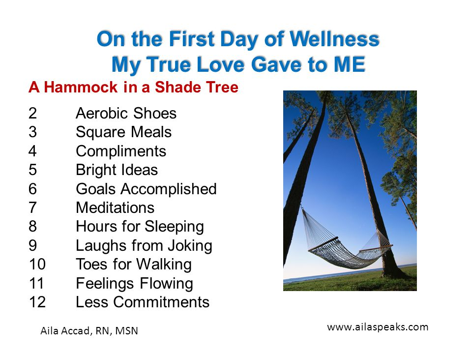A Hammock in a Shade Tree 2 Aerobic Shoes 3Square Meals 4Compliments 5Bright Ideas 6Goals Accomplished 7Meditations 8Hours for Sleeping 9Laughs from J