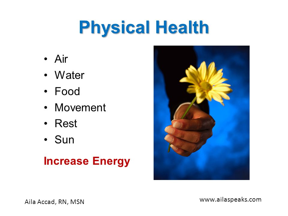 Physical Health Air Water Food Movement Rest Sun Increase Energy Aila Accad, RN, MSN www.ailaspeaks.com