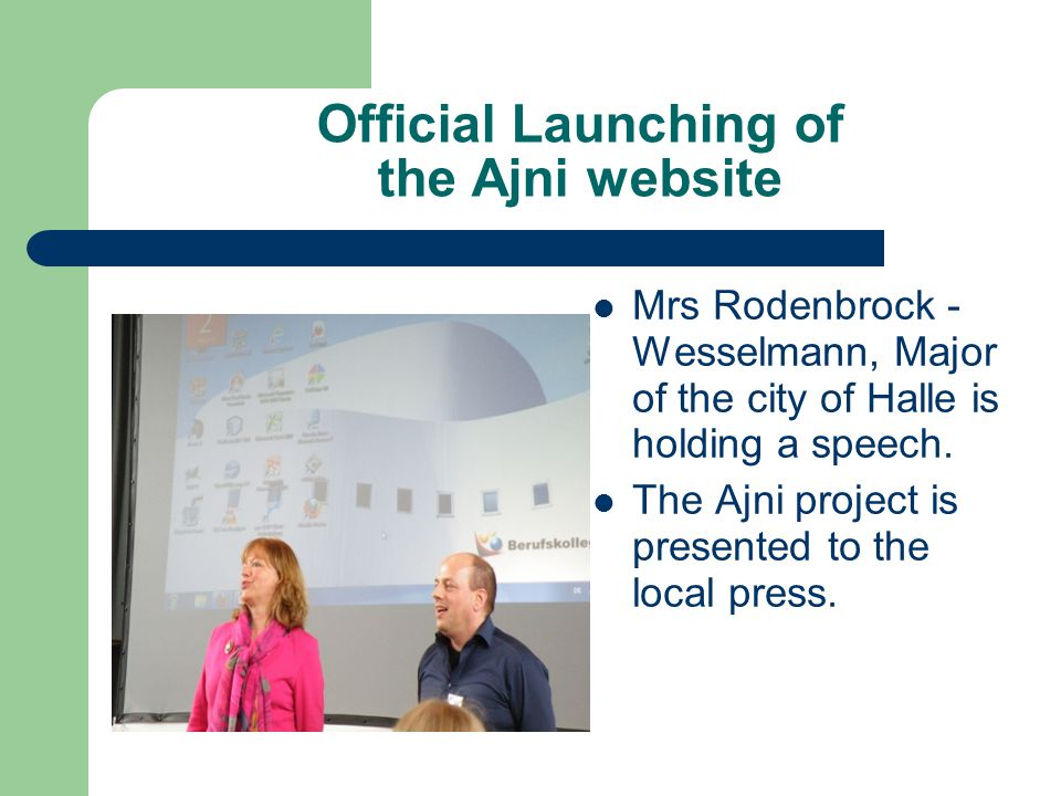 Official Launching of the Ajni website Mrs Rodenbrock - Wesselmann, Major of the city of Halle is holding a speech.