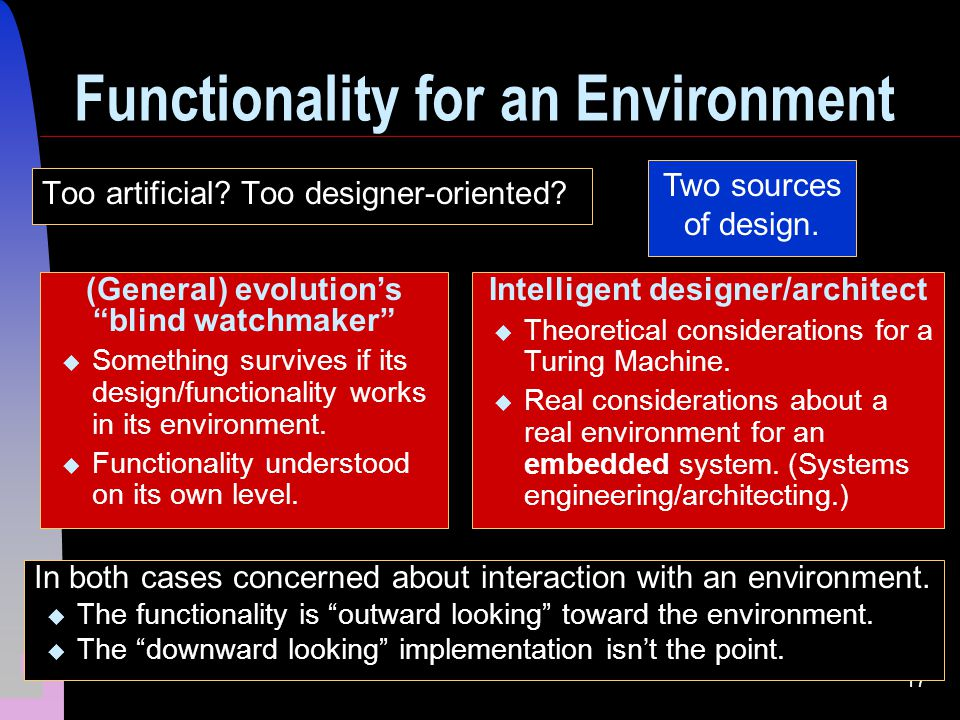 17 Functionality for an Environment Too artificial.