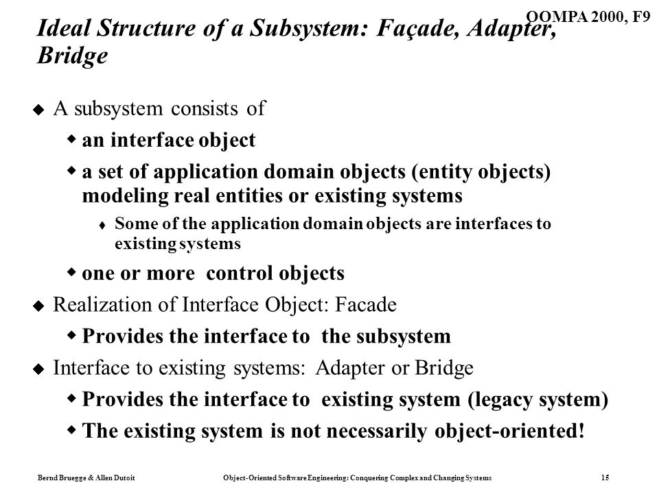 Bernd Bruegge & Allen Dutoit Object-Oriented Software Engineering: Conquering Complex and Changing Systems 15 OOMPA 2000, F9 Ideal Structure of a Subsystem: Façade, Adapter, Bridge A subsystem consists of an interface object a set of application domain objects (entity objects) modeling real entities or existing systems Some of the application domain objects are interfaces to existing systems one or more control objects Realization of Interface Object: Facade Provides the interface to the subsystem Interface to existing systems: Adapter or Bridge Provides the interface to existing system (legacy system) The existing system is not necessarily object-oriented!