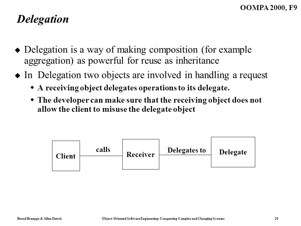 Bernd Bruegge & Allen Dutoit Object-Oriented Software Engineering: Conquering Complex and Changing Systems 26 OOMPA 2000, F9 Delegation Delegation is a way of making composition (for example aggregation) as powerful for reuse as inheritance In Delegation two objects are involved in handling a request A receiving object delegates operations to its delegate.