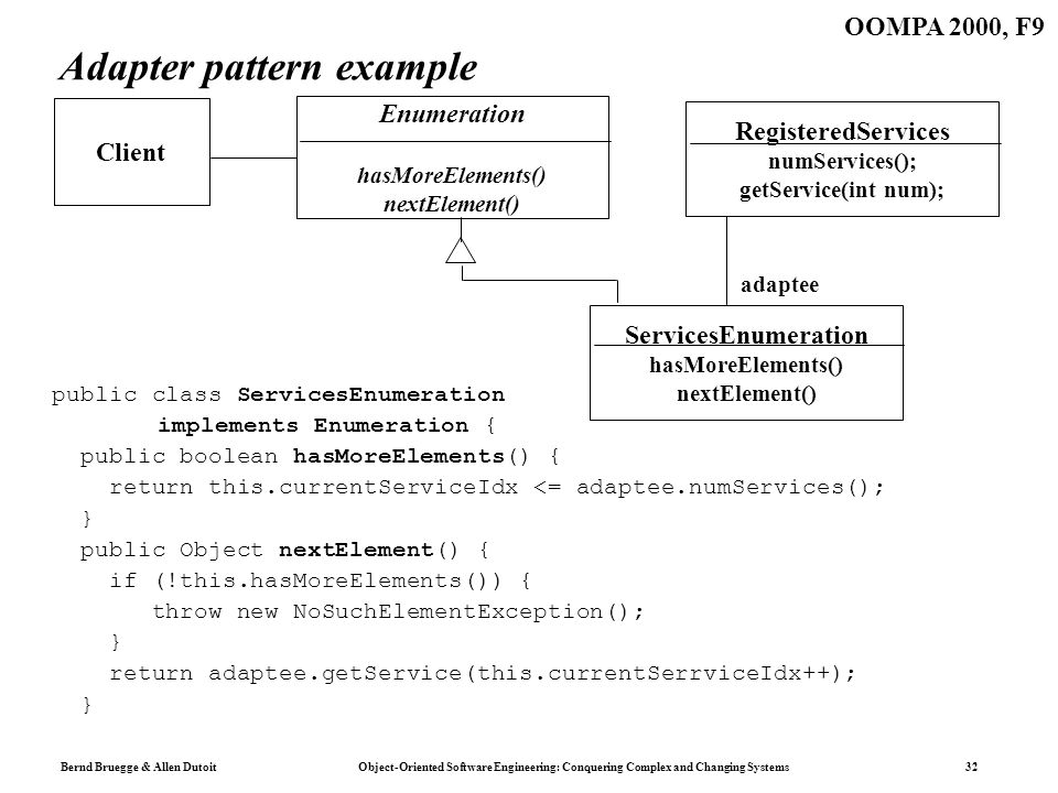 Bernd Bruegge & Allen Dutoit Object-Oriented Software Engineering: Conquering Complex and Changing Systems 32 OOMPA 2000, F9 Adapter pattern example p