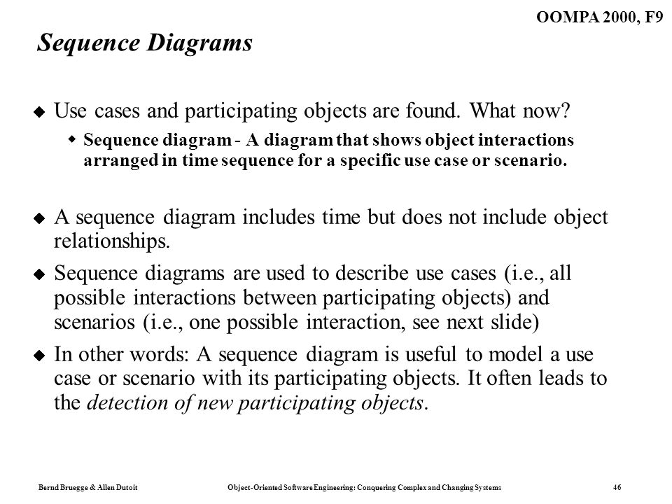 Bernd Bruegge & Allen Dutoit Object-Oriented Software Engineering: Conquering Complex and Changing Systems 46 OOMPA 2000, F9 Sequence Diagrams Use cases and participating objects are found.