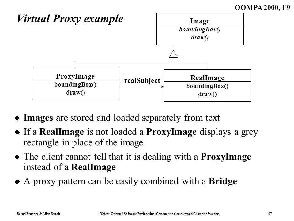 Bernd Bruegge & Allen Dutoit Object-Oriented Software Engineering: Conquering Complex and Changing Systems 67 OOMPA 2000, F9 Virtual Proxy example Images are stored and loaded separately from text If a RealImage is not loaded a ProxyImage displays a grey rectangle in place of the image The client cannot tell that it is dealing with a ProxyImage instead of a RealImage A proxy pattern can be easily combined with a Bridge Image boundingBox() draw() realSubject RealImage boundingBox() draw() ProxyImage boundingBox() draw()