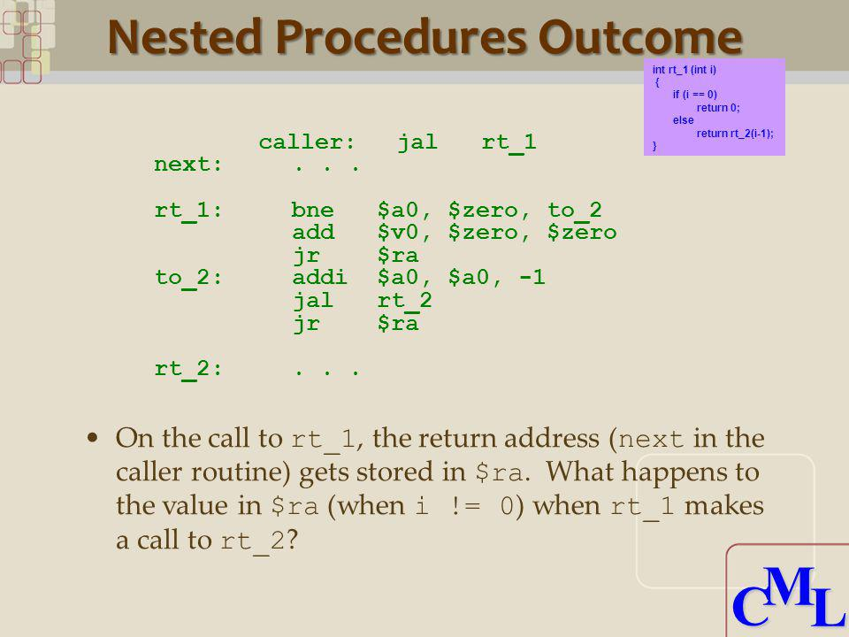 CML CML Nested Procedures Outcome caller:jalrt_1 next:... rt_1:bne$a0, $zero, to_2 add$v0, $zero, $zero jr$ra to_2:addi$a0, $a0, -1 jalrt_2 jr$ra rt_2