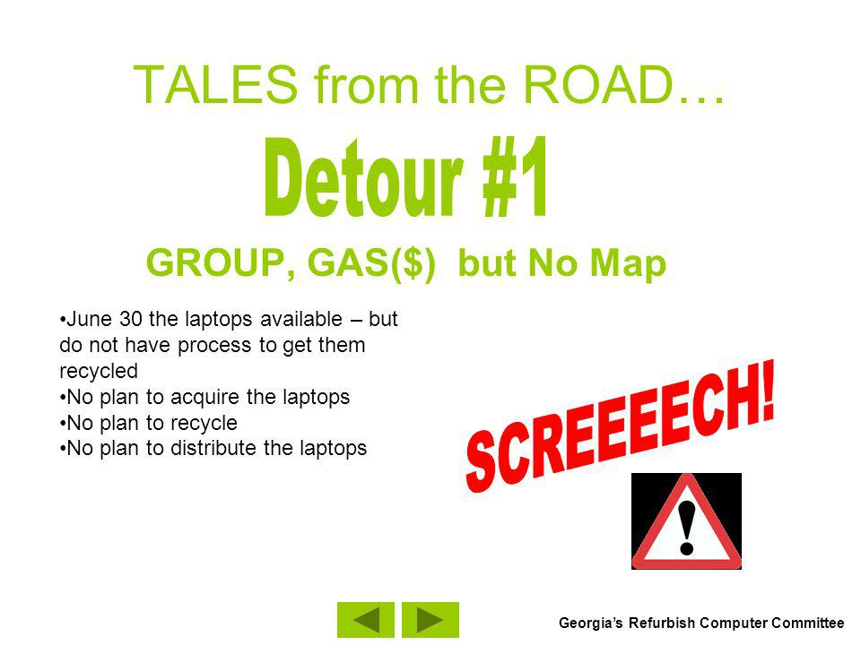 TALES from the ROAD… GROUP, GAS($) but No Map June 30 the laptops available – but do not have process to get them recycled No plan to acquire the lapt