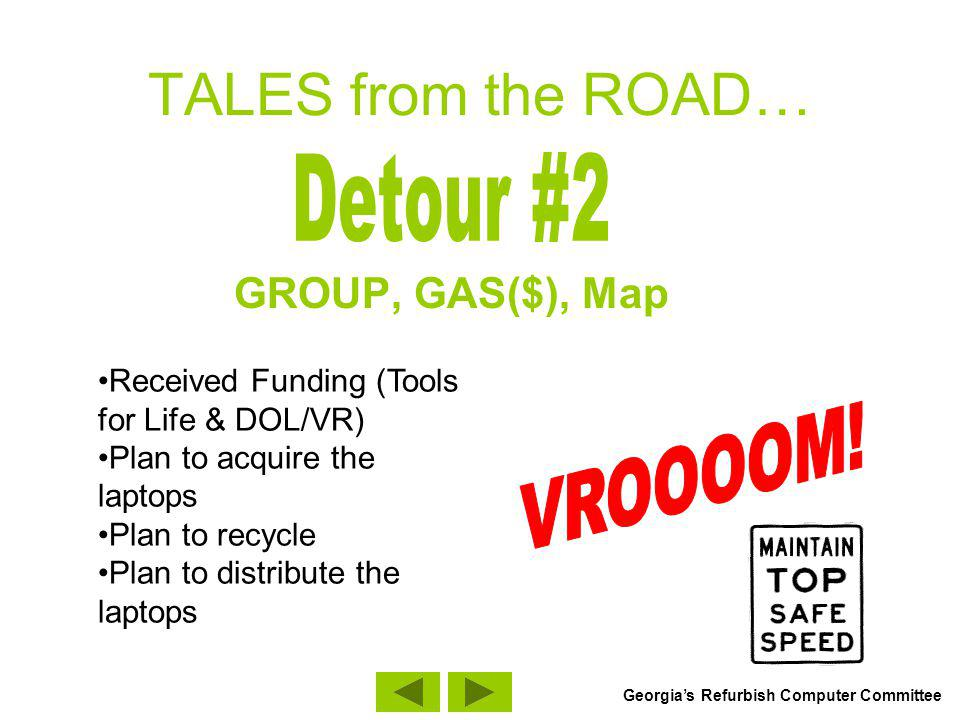 TALES from the ROAD… GROUP, GAS($), Map Received Funding (Tools for Life & DOL/VR) Plan to acquire the laptops Plan to recycle Plan to distribute the