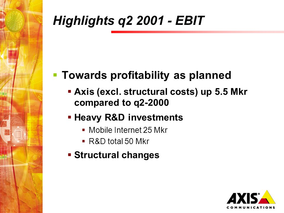 Highlights q2 2001 - EBIT Towards profitability as planned Axis (excl.