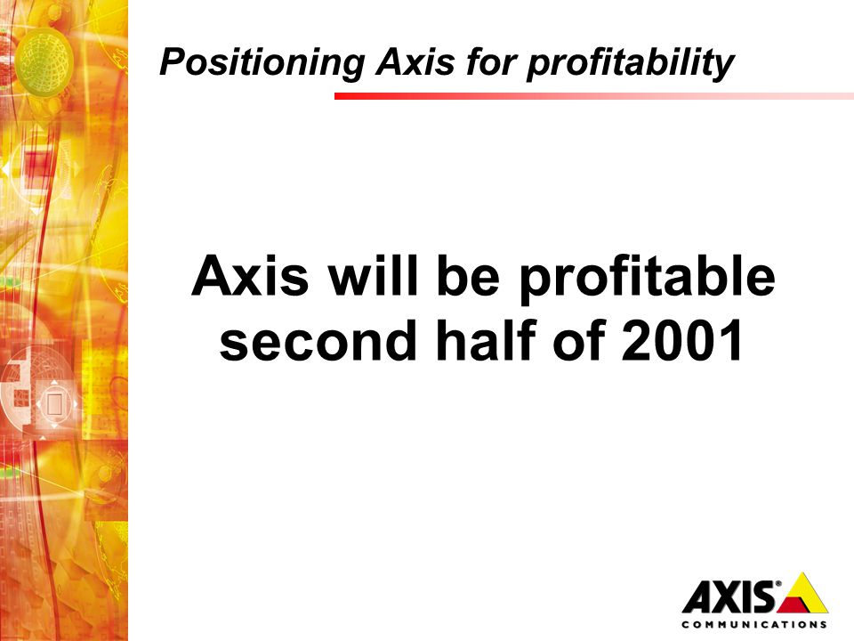 Positioning Axis for profitability Axis will be profitable second half of 2001