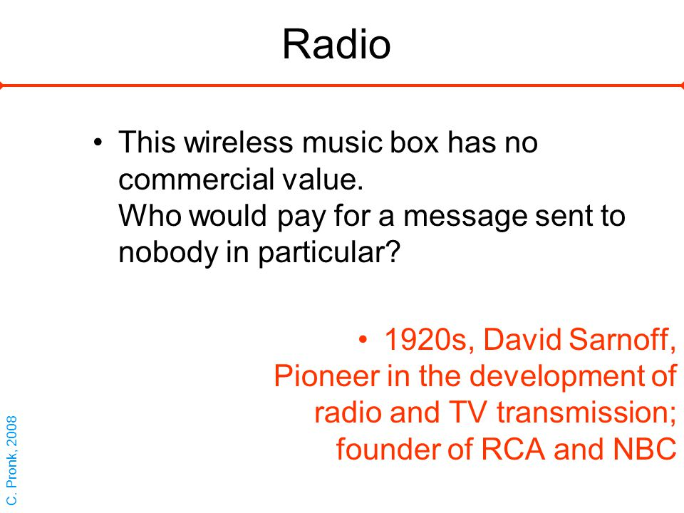 Radio This wireless music box has no commercial value.