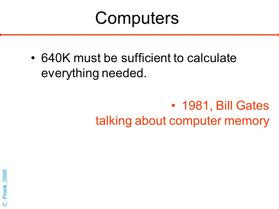 Computers 640K must be sufficient to calculate everything needed.