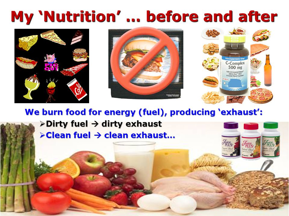 My Nutrition … before and after My Nutrition … before and after We burn food for energy (fuel), producing exhaust: Dirty fuel dirty exhaust Dirty fuel dirty exhaust Clean fuel clean exhaust… Clean fuel clean exhaust…