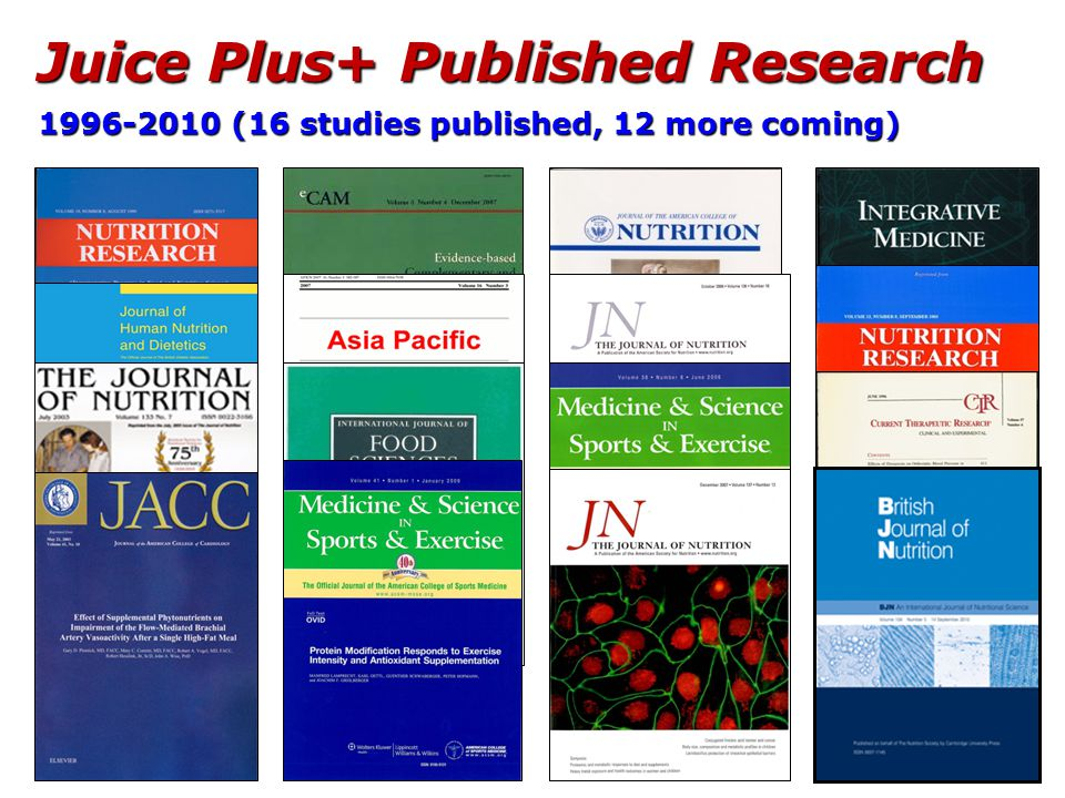 Juice Plus+ Published Research 1996-2010 (16 studies published, 12 more coming)