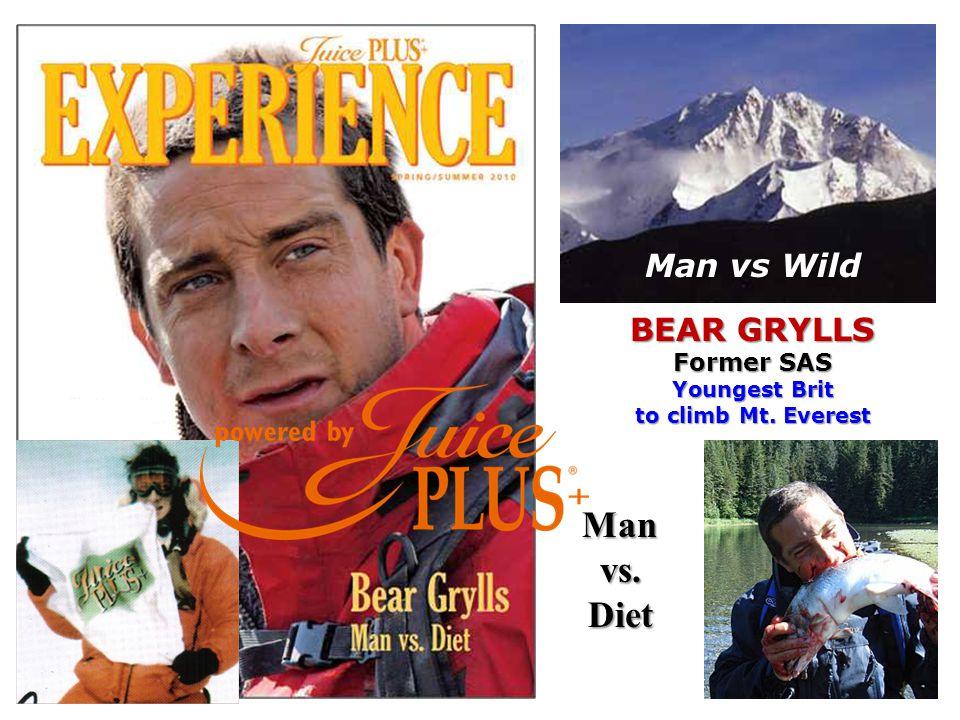 Man vs Wild BEAR GRYLLS Former SAS Youngest Brit to climb Mt. Everest Manvs.Diet
