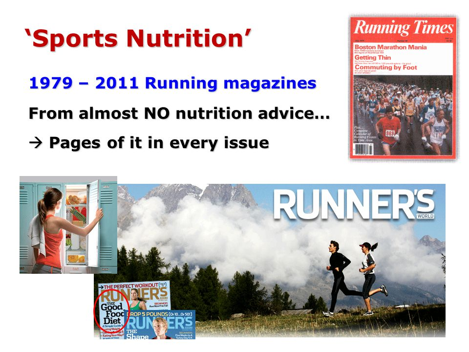 1979 – 2011 Running magazines From almost NO nutrition advice… Pages of it in every issue Pages of it in every issue Sports Nutrition