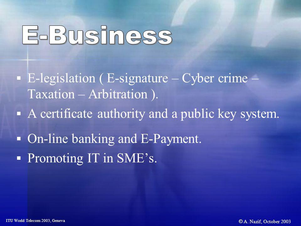© A. Nazif, October 2003 ITU World Telecom 2003, Geneva E-legislation ( E-signature – Cyber crime – Taxation – Arbitration ). A certificate authority