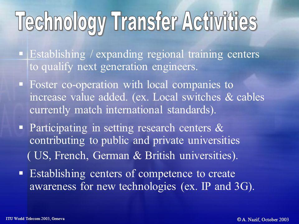 © A. Nazif, October 2003 ITU World Telecom 2003, Geneva Establishing / expanding regional training centers to qualify next generation engineers. Foste