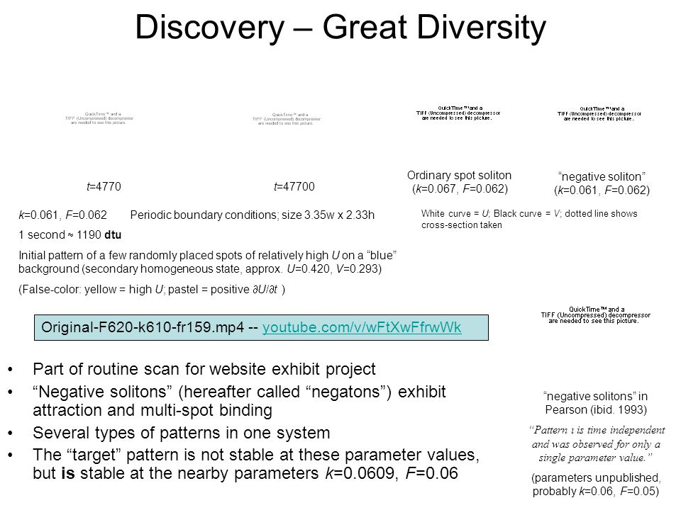 Discovery – Great Diversity Part of routine scan for website exhibit project Negative solitons (hereafter called negatons) exhibit attraction and mult