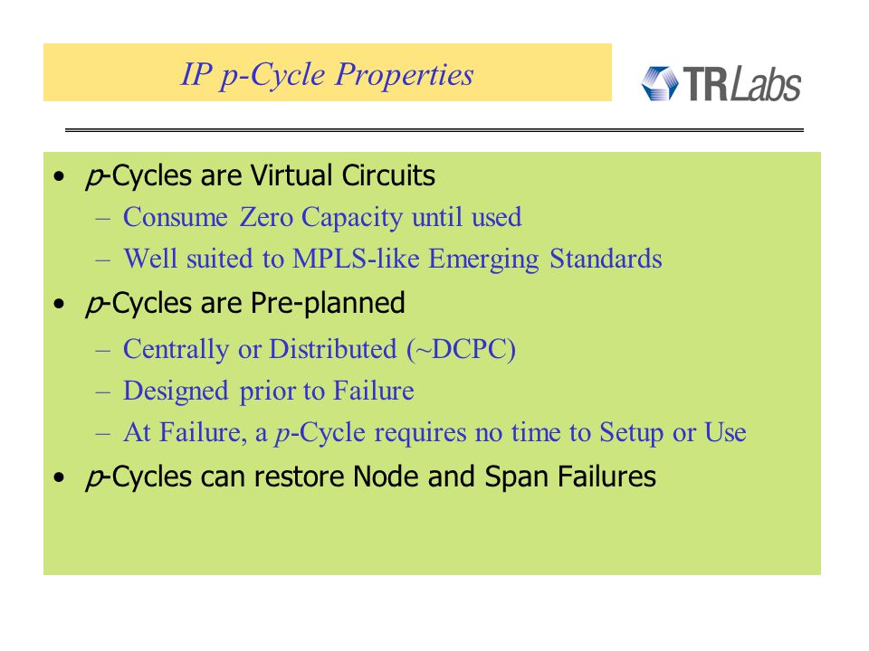 IP p-Cycle Properties p-Cycles are Virtual Circuits –Consume Zero Capacity until used –Well suited to MPLS-like Emerging Standards p-Cycles are Pre-pl