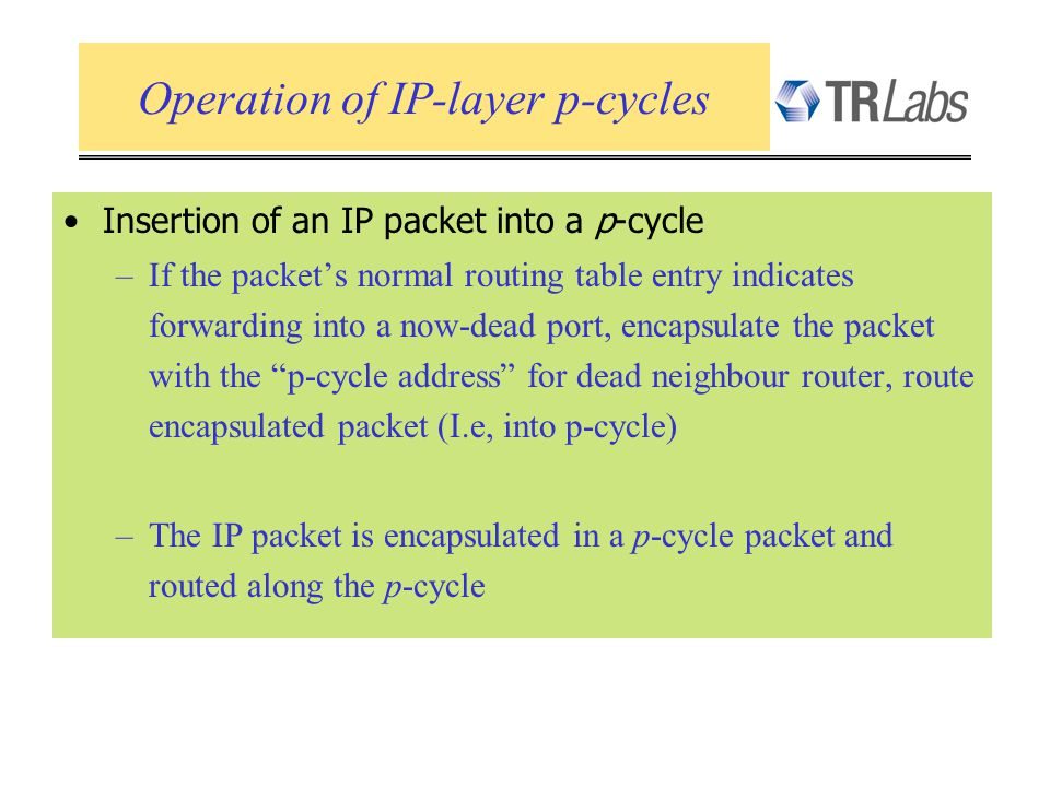 Insertion of an IP packet into a p-cycle –If the packets normal routing table entry indicates forwarding into a now-dead port, encapsulate the packet