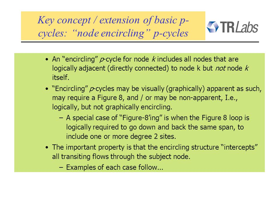 An encircling p-cycle for node k includes all nodes that are logically adjacent (directly connected) to node k but not node k itself. Encircling p-cyc