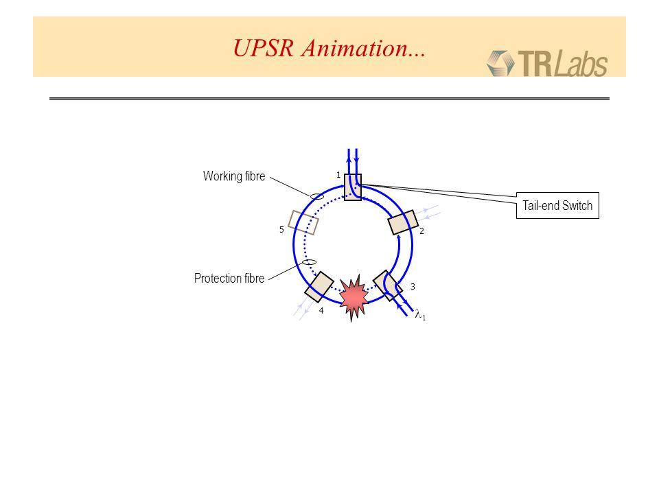 Protection fibre Working fibre 1 2 3 4 5 UPSR Animation... Tail-end Switch