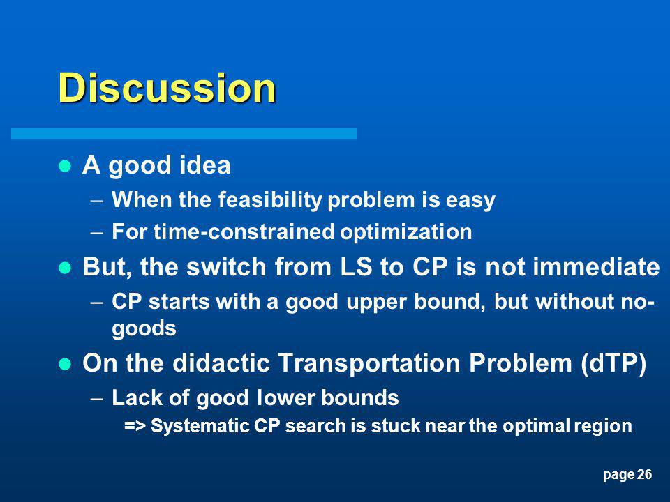 page 26 Discussion A good idea –When the feasibility problem is easy –For time-constrained optimization But, the switch from LS to CP is not immediate
