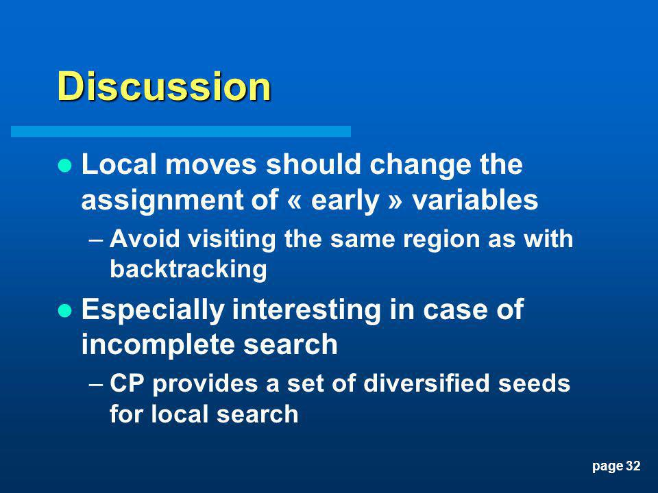 page 32 Discussion Local moves should change the assignment of « early » variables –Avoid visiting the same region as with backtracking Especially int