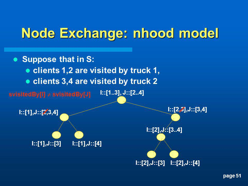 page 51 Node Exchange: nhood model Suppose that in S: clients 1,2 are visited by truck 1, clients 3,4 are visited by truck 2 I::[1..3], J::[2..4] I::[