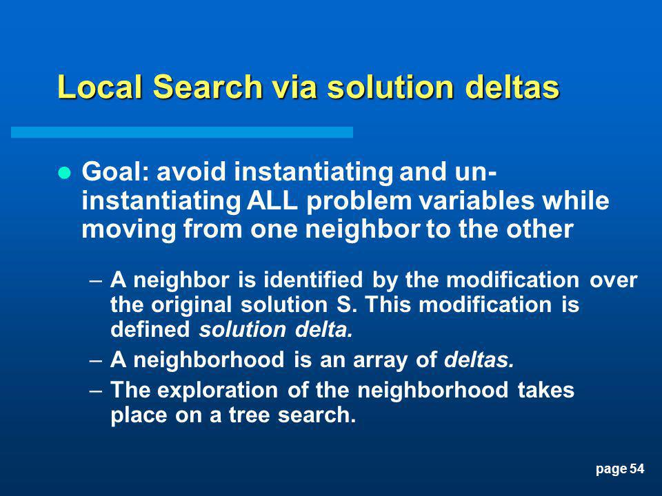page 54 Local Search via solution deltas Goal: avoid instantiating and un- instantiating ALL problem variables while moving from one neighbor to the o