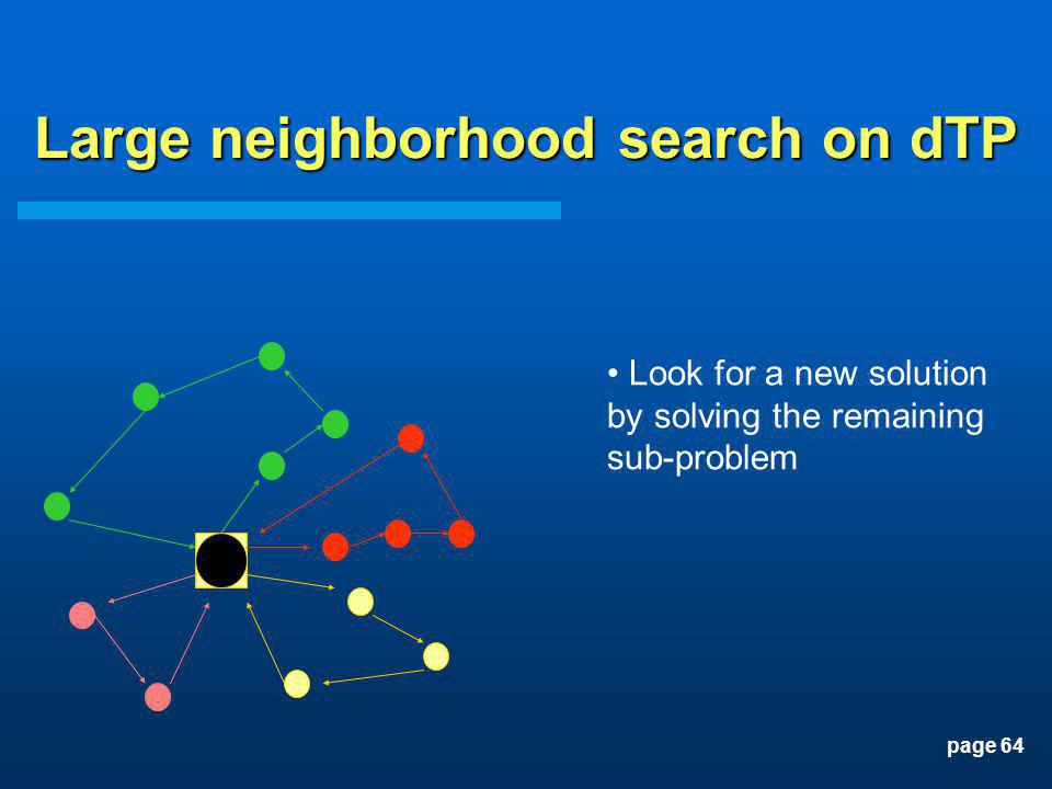 page 64 Look for a new solution by solving the remaining sub-problem Large neighborhood search on dTP