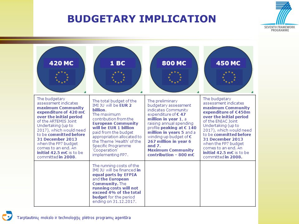 Tarptautinių mokslo ir technologijų plėtros programų agentūra BUDGETARY IMPLICATION The budgetary assessment indicates maximum Community expenditure of 420 m over the initial period of the ARTEMIS Joint Undertaking (up to 2017), which would need to be committed before 31 December 2013 when the FP7 budget comes to an end.