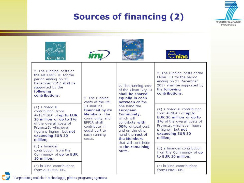 Tarptautinių mokslo ir technologijų plėtros programų agentūra Sources of financing (2) 2. The running costs of the ARTEMIS JU for the period ending on