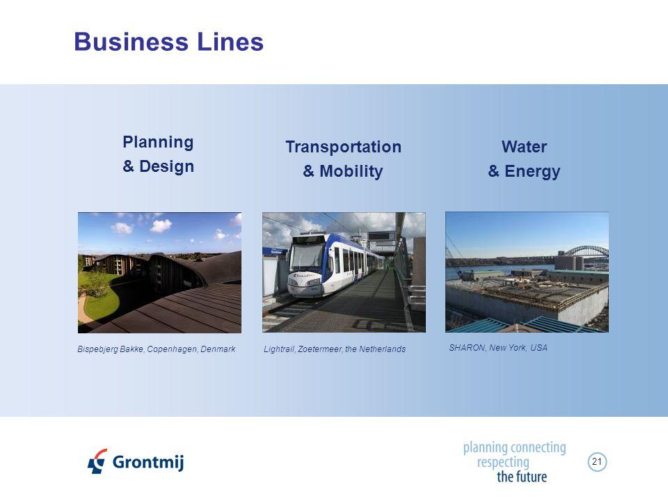 21 Business Lines Planning & Design Bispebjerg Bakke, Copenhagen, DenmarkLightrail, Zoetermeer, the Netherlands SHARON, New York, USA Transportation &