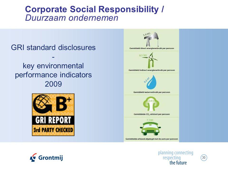 30 Corporate Social Responsibility / Duurzaam ondernemen GRI standard disclosures - key environmental performance indicators 2009