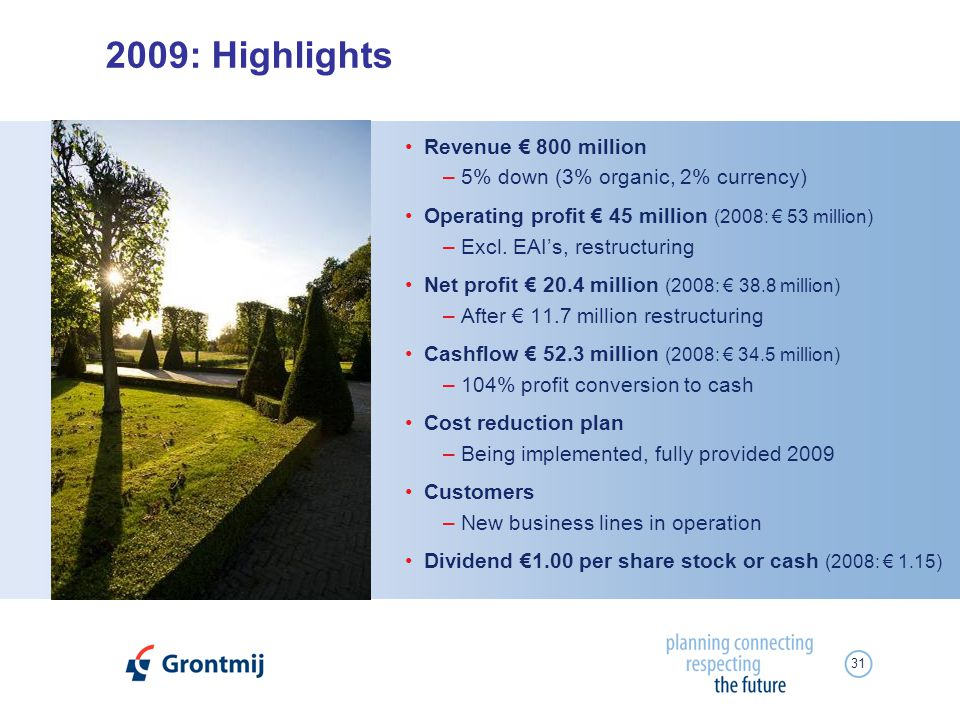 31 2009: Highlights Revenue 800 million –5% down (3% organic, 2% currency) Operating profit 45 million (2008: 53 million) –Excl.