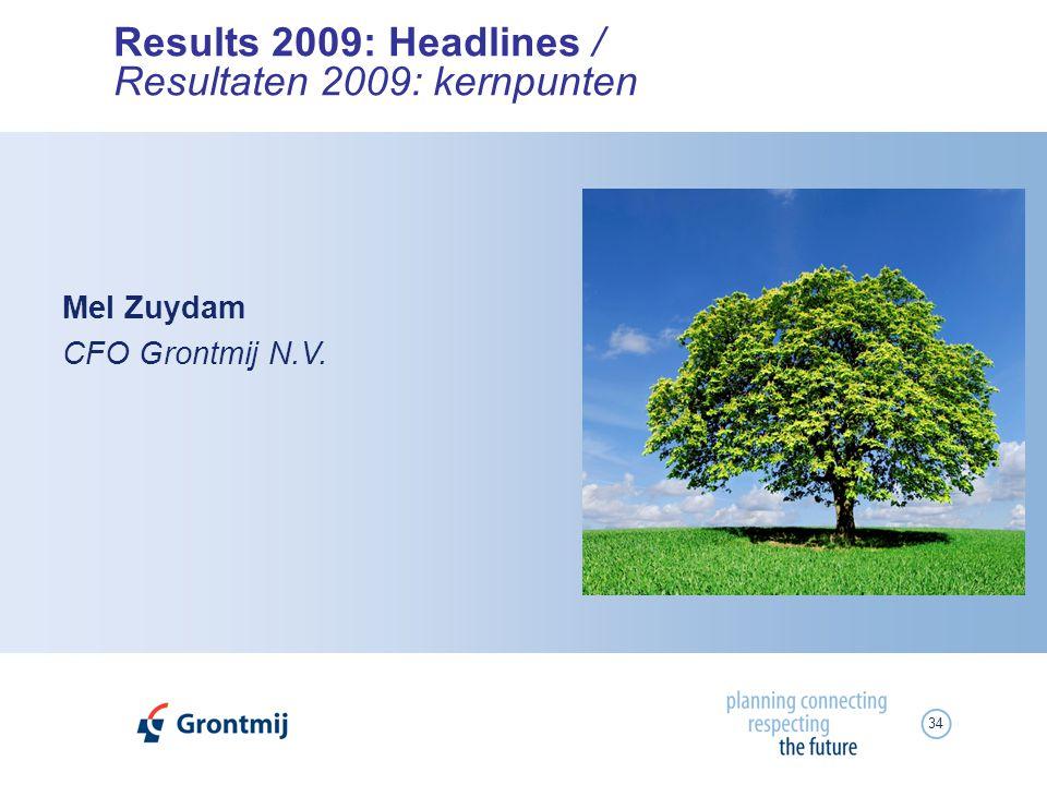 34 Results 2009: Headlines / Resultaten 2009: kernpunten Mel Zuydam CFO Grontmij N.V.