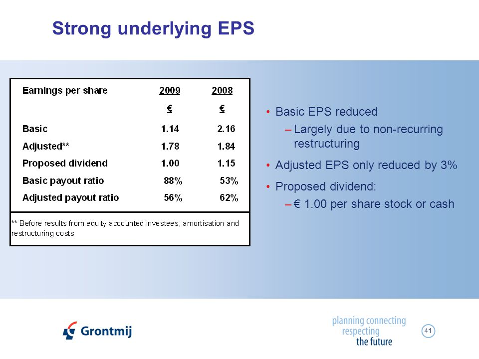 41 Strong underlying EPS Basic EPS reduced –Largely due to non-recurring restructuring Adjusted EPS only reduced by 3% Proposed dividend: – 1.00 per s