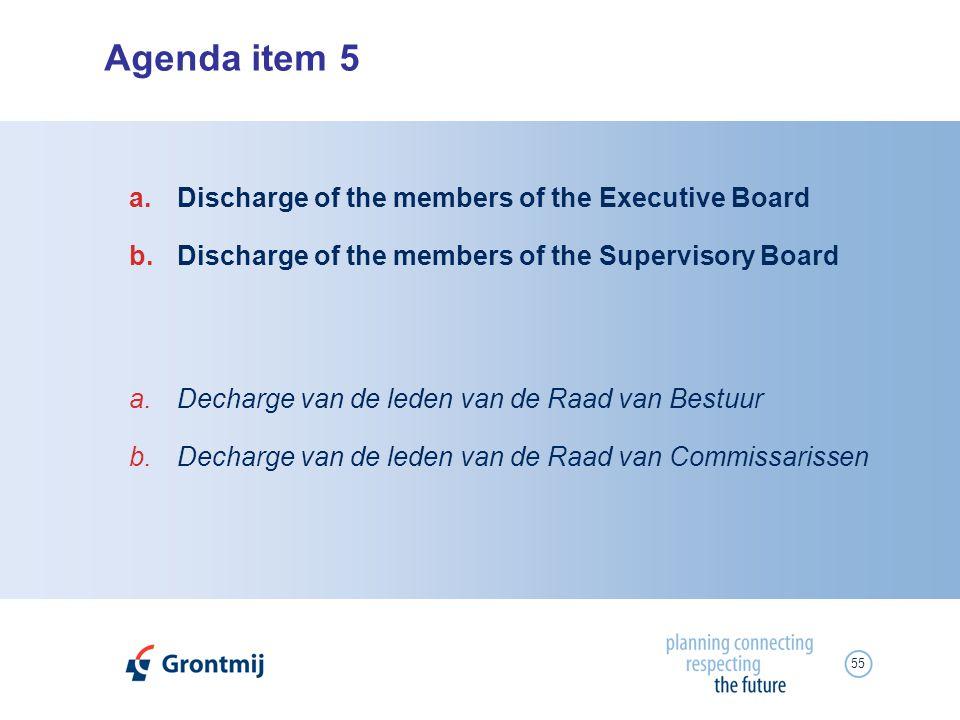 55 Agenda item 5 a.Decharge van de leden van de Raad van Bestuur b.Decharge van de leden van de Raad van Commissarissen a.Discharge of the members of
